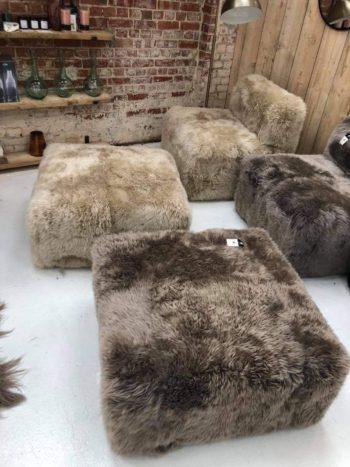 Sheepskin cube footstools