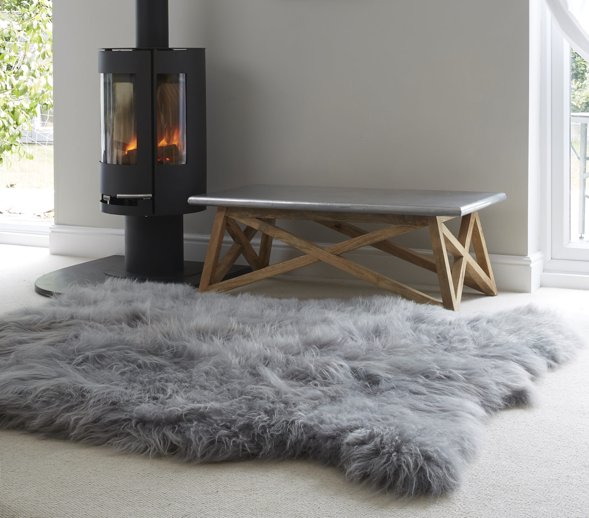 Huge Icelandic Grey Sheepskin Rug The Swedish Wooden