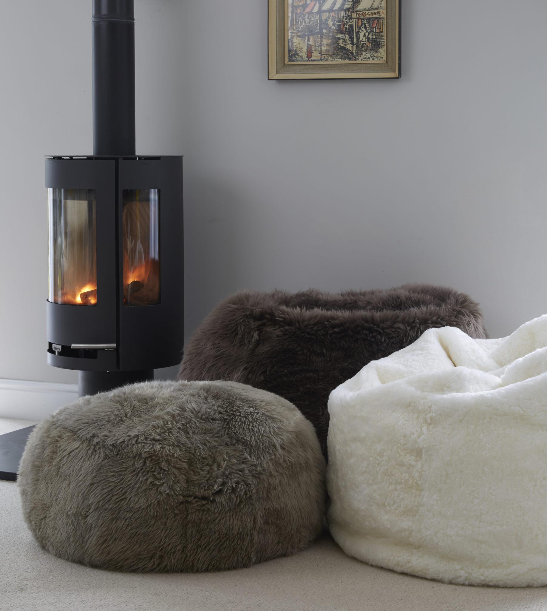 Slate grey sheepskin rug single - Grey Sheepskin Pouff Footstool The Swedish Wooden Horse