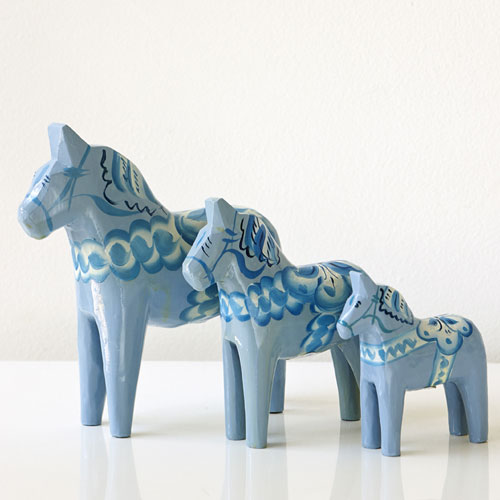 Set Of Three pale Blue Dala Horses