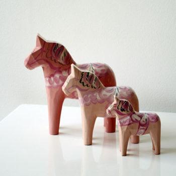 Set of Pale Pink Dala Horses