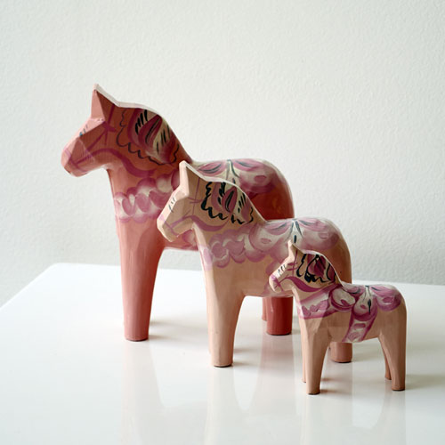 Set of Pale Pink Dala Horses
