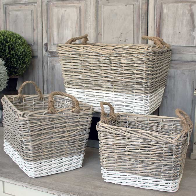 set of three two tone wicker baskets