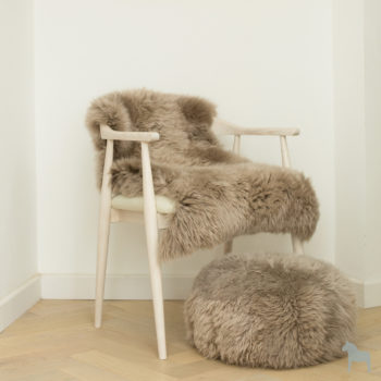 Taupe sheepskin rug and pouffe set