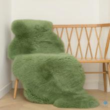 Kiwi green double sheepskin rug
