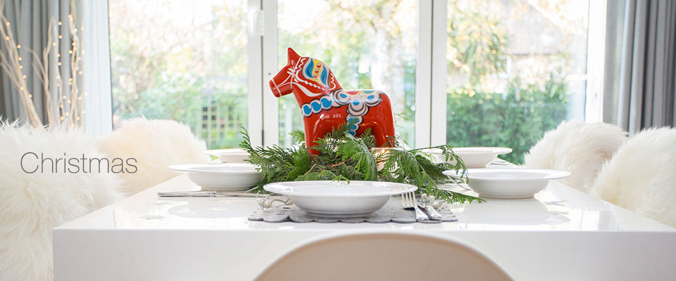 Swedish Wooden Horse and Sheepskin - Christmas