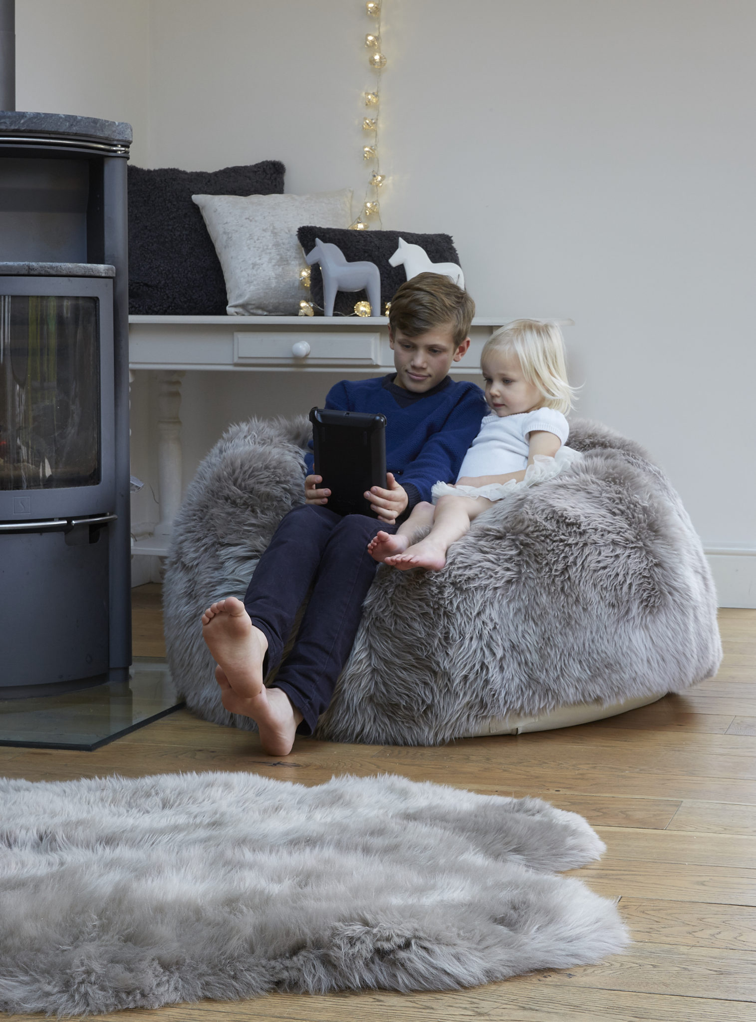Warm Grey Sheepskin Beanbag The Swedish Wooden Horse Company