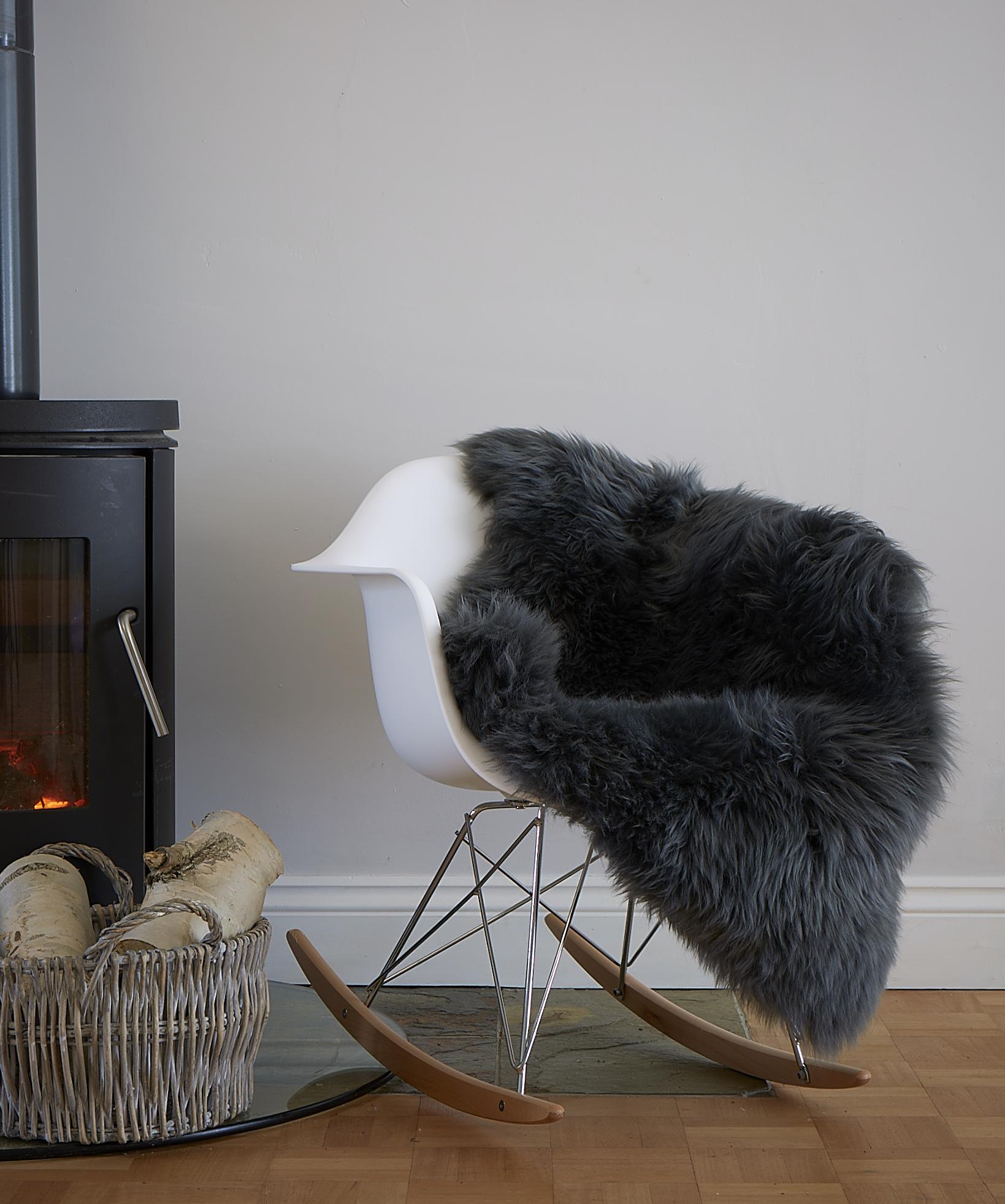 Slate grey sheepskin rug single - Slate Grey Sheepskin The Swedish Wooden Horse Company