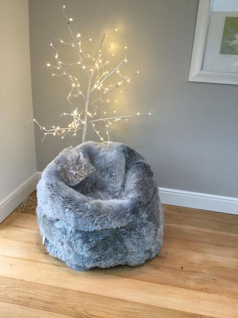 Pleasant Silver Grey Sheepskin Beanbag Ncnpc Chair Design For Home Ncnpcorg