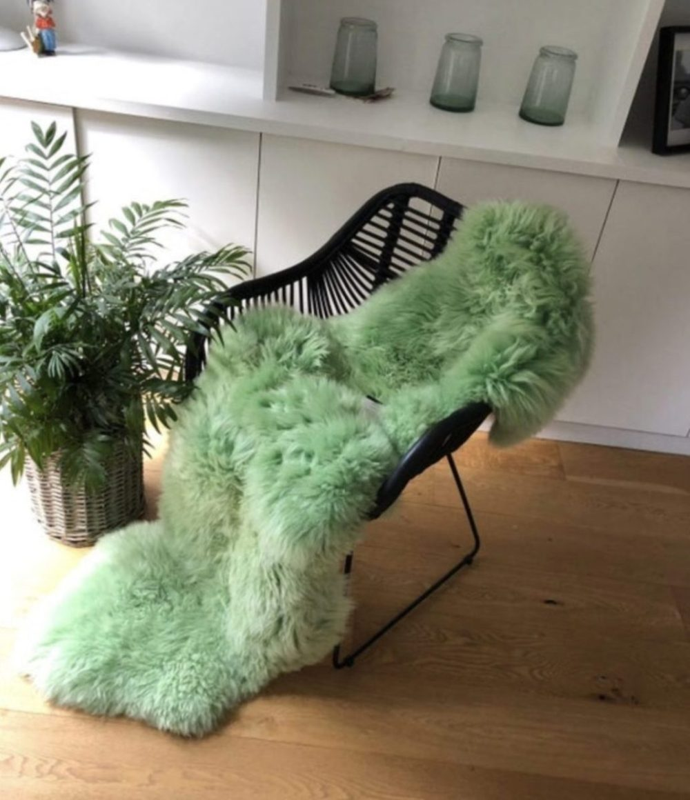 Light Green Double Sheepskin Rug The