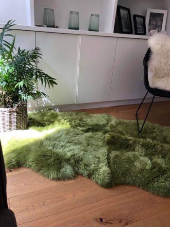 mid green sheepskin rug