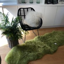 mid green large sheepskin rug