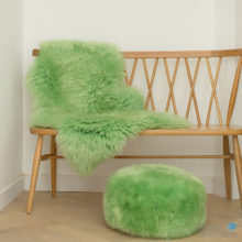 Fresh green rug and pouffe set