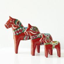 Set of Three Red Dala Horses