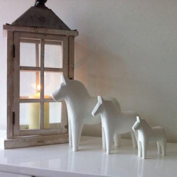 Scandinavian White Dala Horse Group