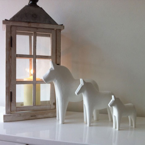 Scandinavian White Dala Horse Group
