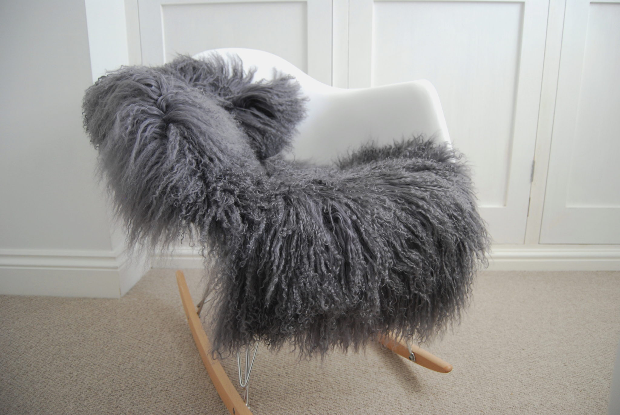 Silver Grey Tibetan Luxury Sheepskin The Swedish Wooden
